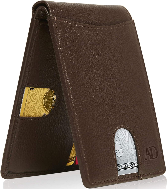 Bifold Wallets For Men Slim Wallet - Leather RFID Minimalist Front Pocket Mens Wallet Credit Card Holder