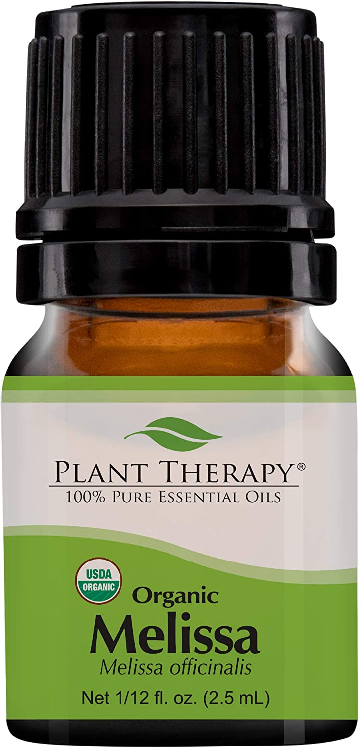 Plant Therapy Melissa Organic Essential Oil 100% Pure, USDA Certified Organic, Undiluted, Natural Aromatherapy, Therapeutic Grade 2.5 mL (1/12 oz)