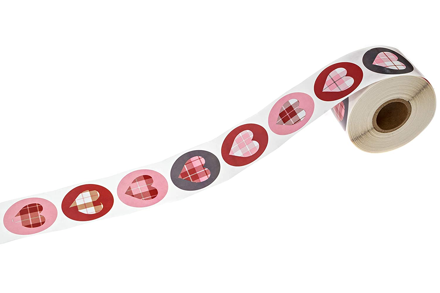 500 Wedding Stickers per Pack SBlabels 1.5 Circle Labels Buffalo Plaid Hearts Stickers//Happy Valentines Day Stickers