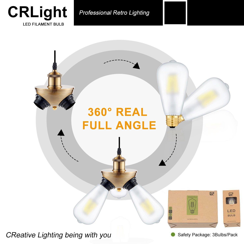 360 Degrees Beam Angle Vintage LED Filament Bulbs ST64 ST21 CRLight 6W Dimmable 700LM LED Edison Bulb 2700K Warm White 60W Equivalent E26 Medium Base 3 Pack
