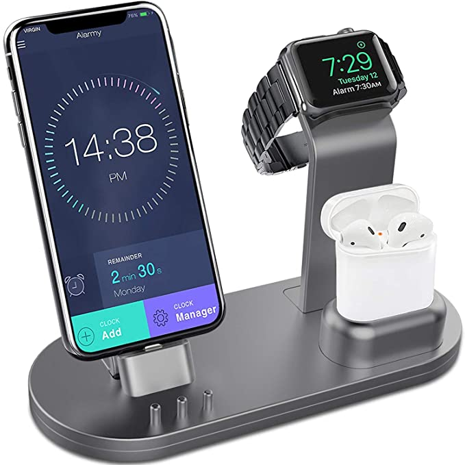 best website dc637 2abcb OLEBR 3 in 1 Charging Stand for iWatch Series 4/3/2/1, AirPods and iPhone  Xs/X Max/XR/X/8/8Plus/7/7 Plus /6S /6S Plus/9.7 inches iPad (Original ...