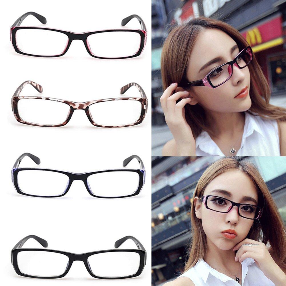 83c968f50f Amazon.com  Qupida Men Or Women Clear Lens Designer Glasses Rectangular  Retro Clear Glasses Non-Prescription Eyeglass (Black)  Clothing