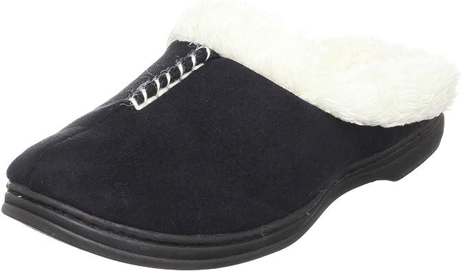 DearFoams Women Slippers 5-6 Black Print