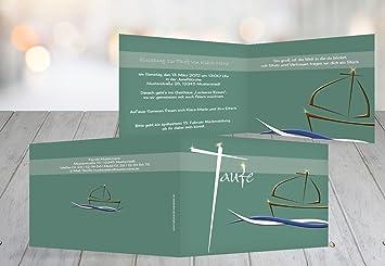Kartenparadies Einladungskarte Taufeinladung Taufkarte Schiffchen Auf  Wellen 2, Hochwertige Einladung Zur Taufe Inklusive Umschläge |