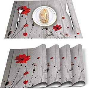 SUN-Shine Placemats Set of 4, Red Poppy Flower Placemat for Dining Table Decorations, Heat-Resistant Washable Table Mats for Kitchen Dinner Banquet Grey Wooden Board