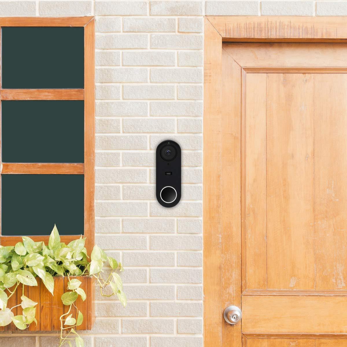 Carcasa Protectora de Silicona para Nest Hello Video Doorbell Negro kwmobile Nest Hello Video Doorbell Funda para videoportero