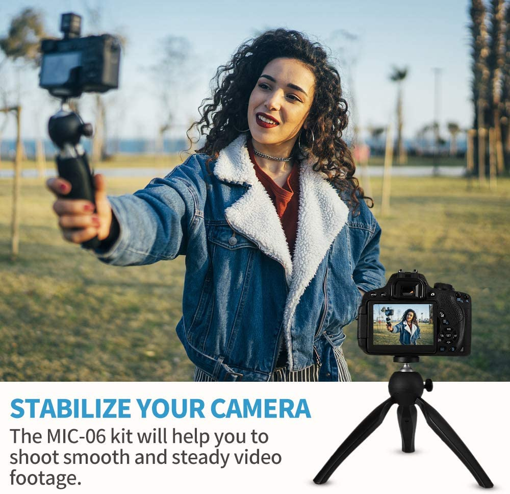 SAMTIAN Camera Smartphone VideoMicro Kit with Shock Mount Shotgun Interview Microphone for Canon Nikon Sony iPhone Android Samsung Camera Vloging YouTube Mini Tripod Video Microphone