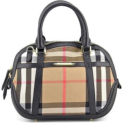 Amazon.com  Burberry Sartorial House Check Bowling Bag - Black ... 4f672a7dd7