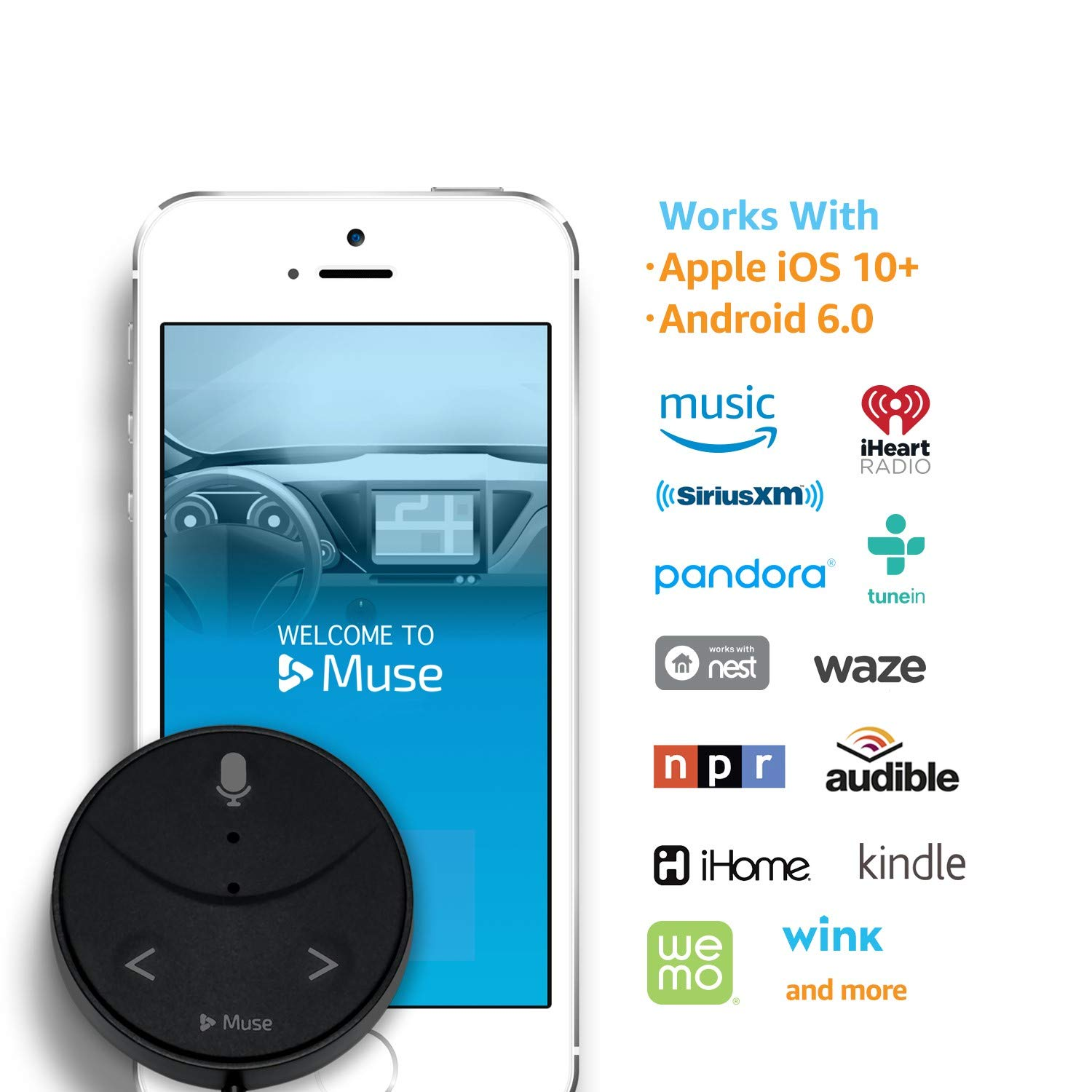 Navigation and 2-Port USB Car Charger Speak Music Audiobooks 2nd Gen Muse Auto : Alexa-Enabled Voice Assistant for Cars with Hands-Free Music