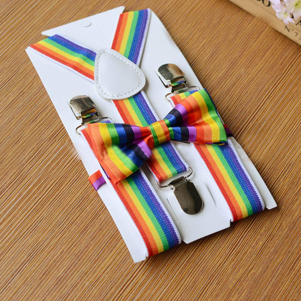 Efaster Kids Girls Boys Rainbow Multicolor Braces Suspenders and Rainbow Bow Tie Set