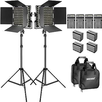 Todo para el streamer: Neewer Soporte y Luz de Video LED Bicolor Kit con Batería y Cargador LED 660 Regulable con Soporte en U y Barndoor (3200-5600K, CRI 96+), Soporte de Luz para Estudio, Disparo de YouTube (2-paquete)