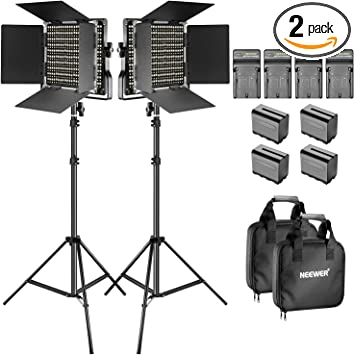 Neewer 2 Pieces Bi-color 660 LED Video Light and Stand 3200-5600K CRI 96