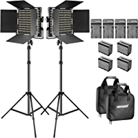 Neewer Bi-Color LED Video Light and Stand Kit with Battery and Charger-660 LED with U Bracket and Barndoor(3200-5600K…