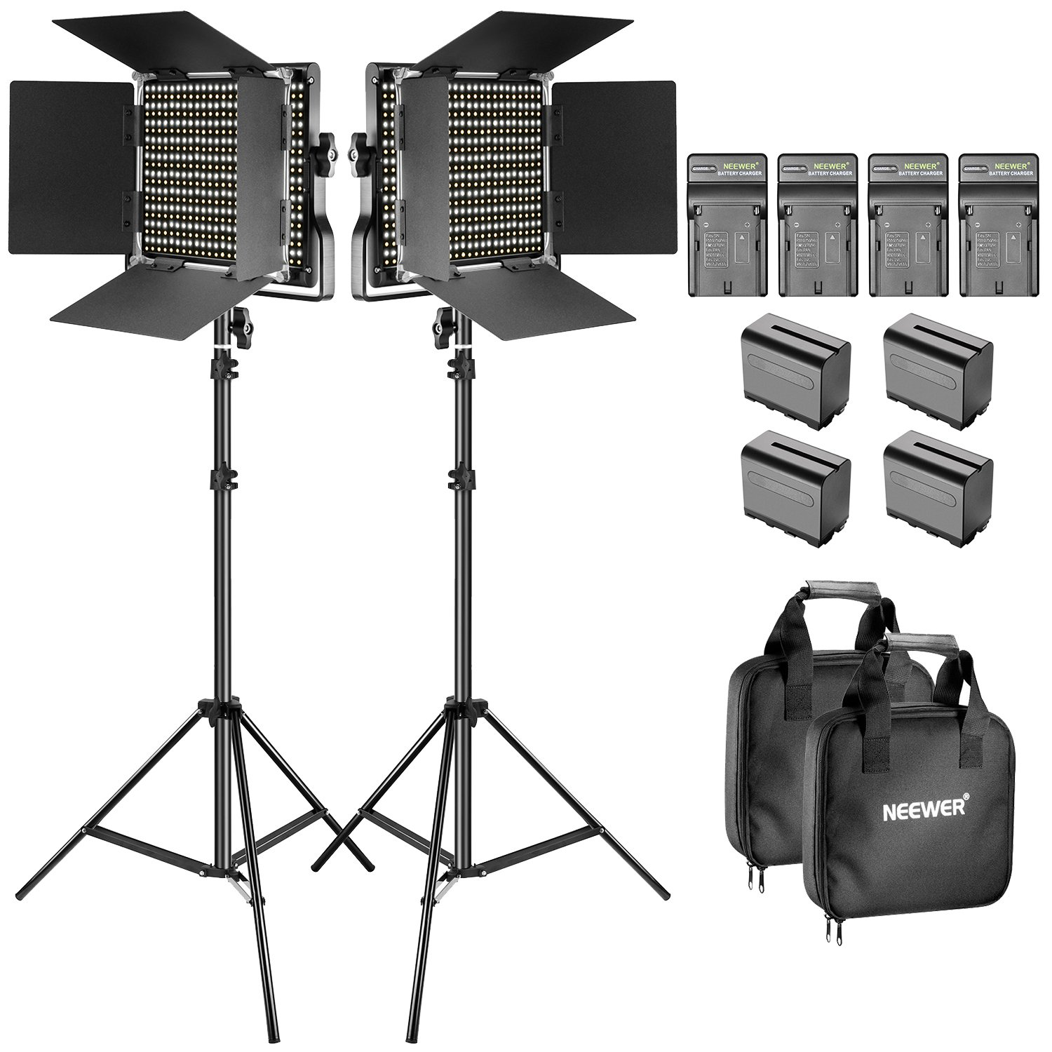 Neewer Bi-Color LED Video Light and Stand Kit with Battery and Charger-660 LED with U Bracket and Barndoor(3200-5600K, CRI 96+), 3-6.5 Feet Adjustable Light Stand for Studio, YouTube Shooting (2 pack) by Neewer