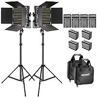 Neewer Luce Video Bi-colore LED e Kit di Supporto con Batteria e Caricabatterie-Dimmable 660 LED con Staffa U e Barndoor(3200-5600K, CRI 96+), piedi 3-6,5 piedi per Studio, Riprese YouTube(2 Pack)