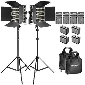 Neewer Kit de 2-Pack 660 LED Video Luz Regulable Bi-color con Parasol