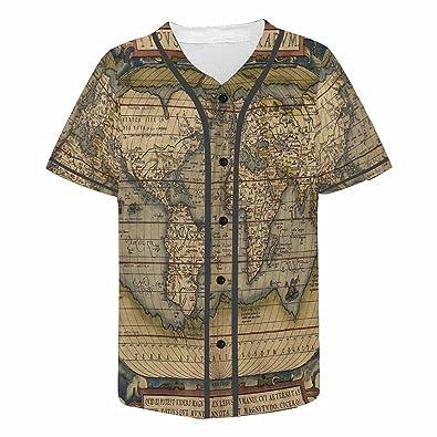World Map Button Down Shirt.Amazon Com Interestprint Men S Button Down Baseball Jersey Map Of