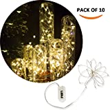 [10-PACK] LED String Lights, LED Moon Lights 20 Led Micro Lights On Silver Copper Wire ( Batteries Include) For DIY Wedding Decoration Centerpiece, Chrismas Decoration, Party (Warm White)