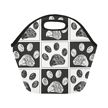 015960ca13ae Amazon.com: InterestPrint Lunch Bags Doodle Paw Lunch Bag Lunch Box ...