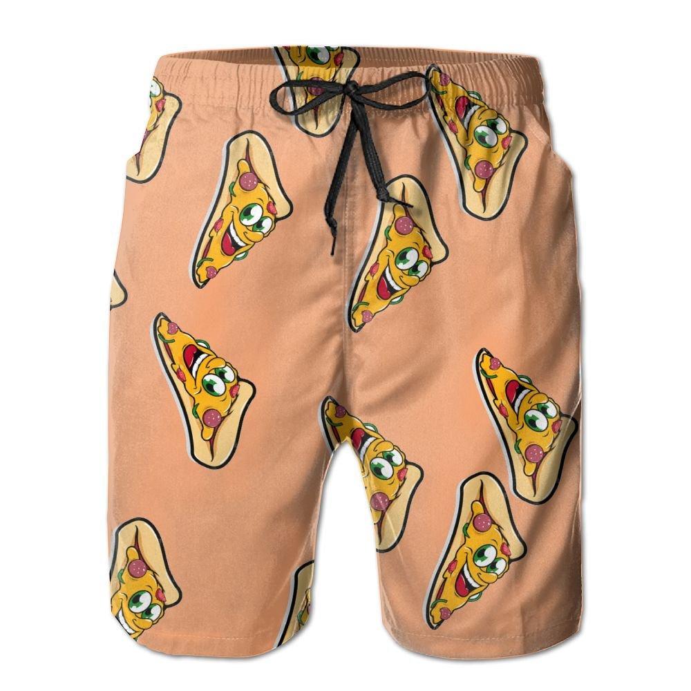 Men's Cartoon Pizza Giving Thumb Up Quick-Dry Lightweight Fashion Board Shorts Swim Trunks M