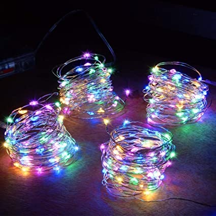 Abkshine 4 Pack 50 Leds Multicolored Christmas Fairy Lights Battery Operated Mini Led String Lights For Bedroom Christmas Parties Wedding Set Of 4