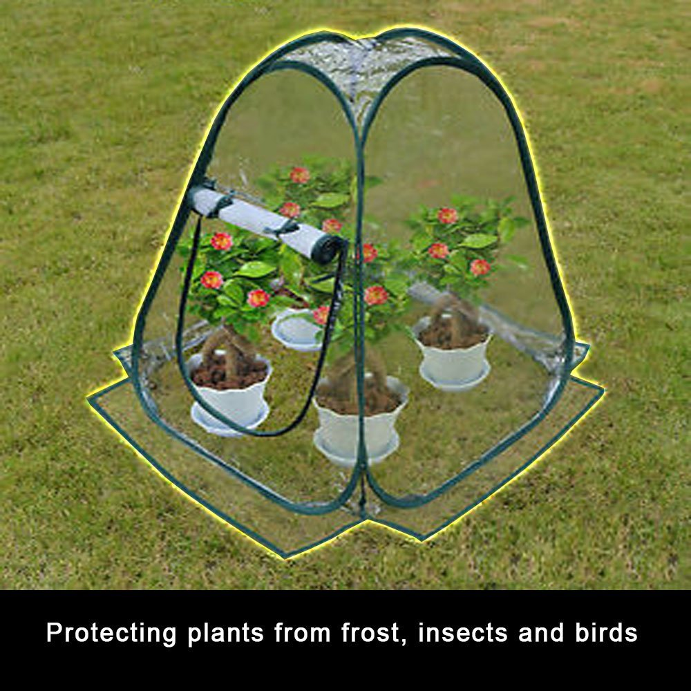 Miniature Greenhouse Kit Portable Pop Up Backyard Garden Shelter House Extends Plants Growing Season Vegetables Herbs Small Indoor Outdoor Gardening Flower Pot Cover Insect Frost Birds Protector Tent