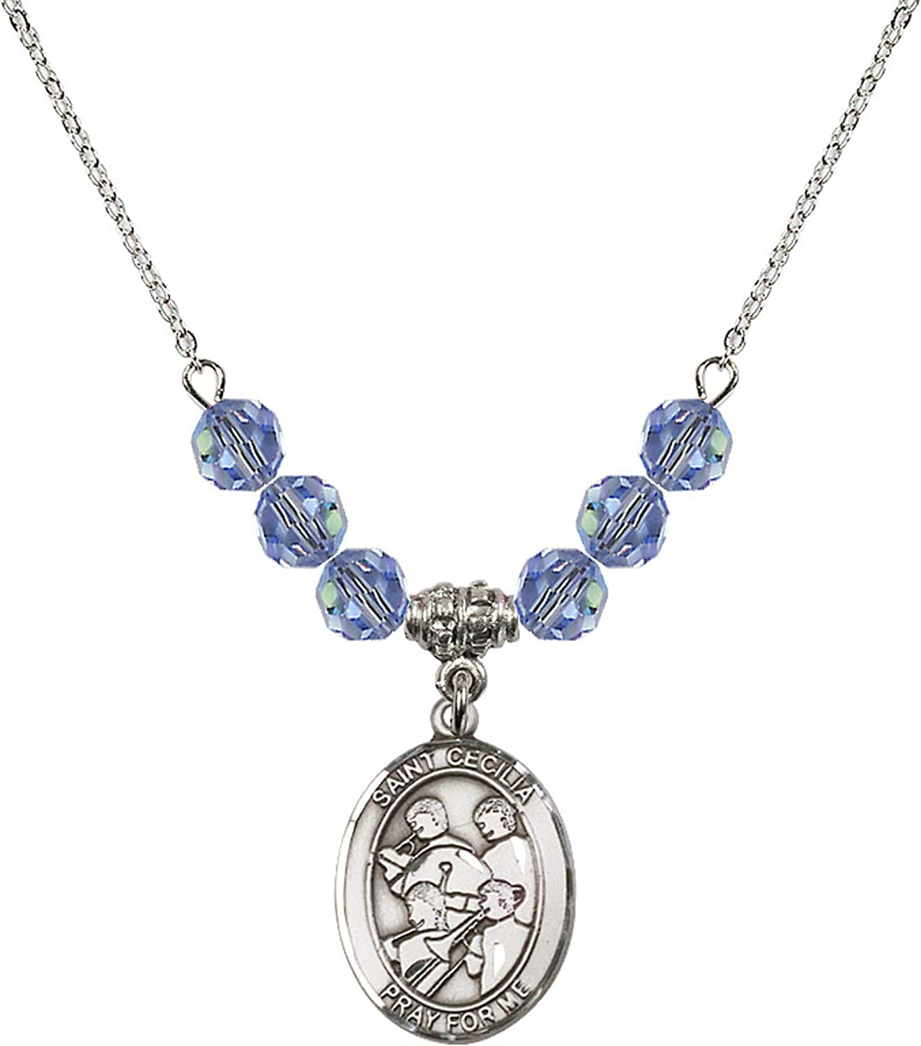Bonyak Jewelry 18 Inch Rhodium Plated Necklace w// 6mm Sterling Silver Beads and Saint Cecilia Charm