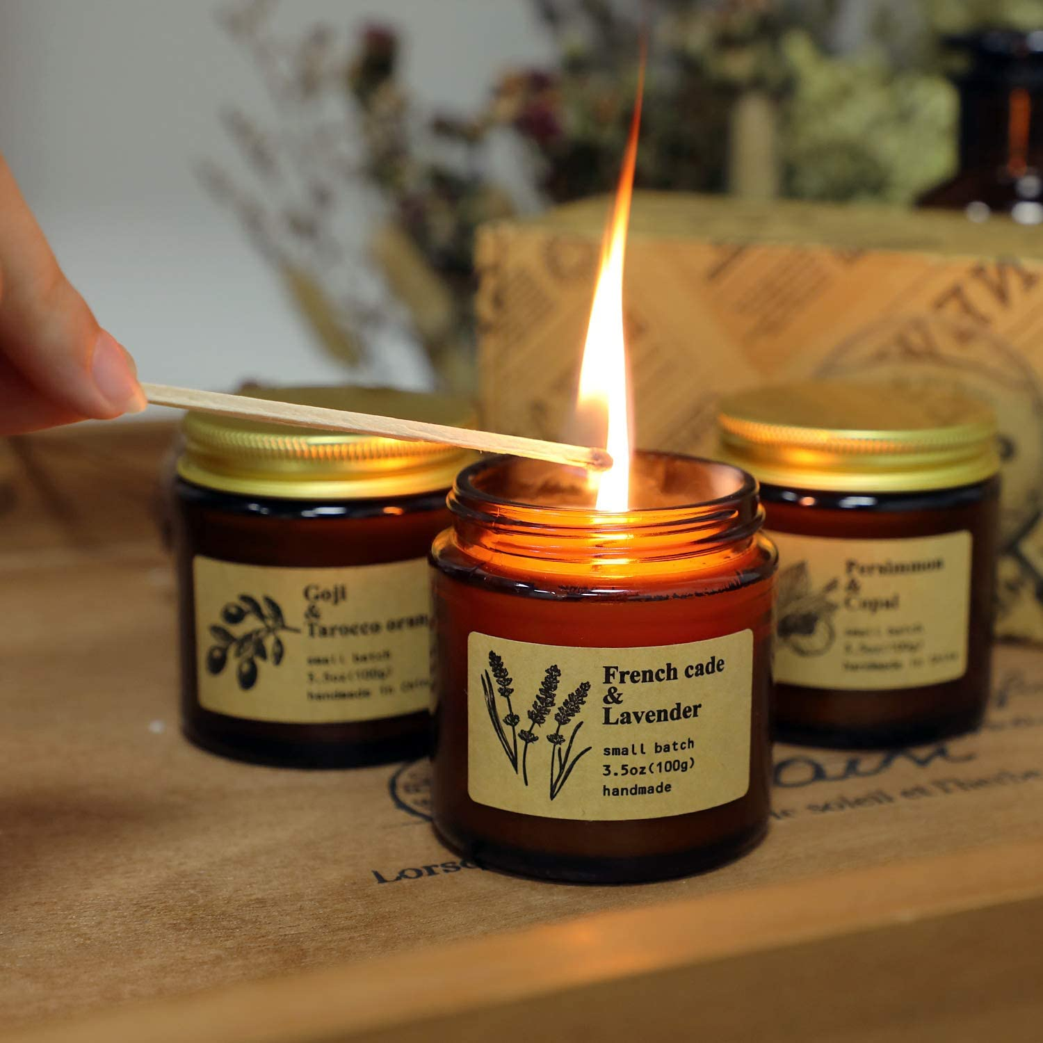 Amber Gold Scented Soya Wax Honey Jar Candle Spicy Scented Middle Eastern ScentHand Poured Fragrance Soya Wax Candle Brand Sheenashona