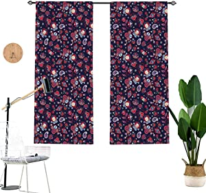 Asian Window Drapes,Eastern Inspired Floral Abstract Fantastic Ornamental Paisleys Room Decor Window Treatment 2 Panel Set,W36 x L24 Each Panel