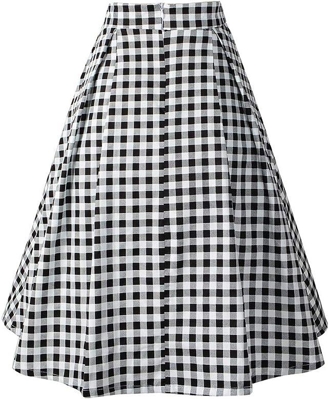 Falda Corta a Cuadros Mujer Elegante Vintage/💖QIjinlook💖/Falda ...
