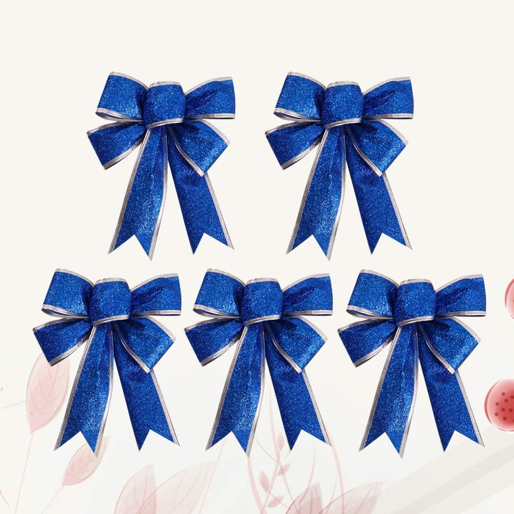 HEALIFTY 5Pcs Christmas Glittering Ribbon Bow Gift Knot Ribbon Ornaments Christmas Tree Presents Decoration Blue
