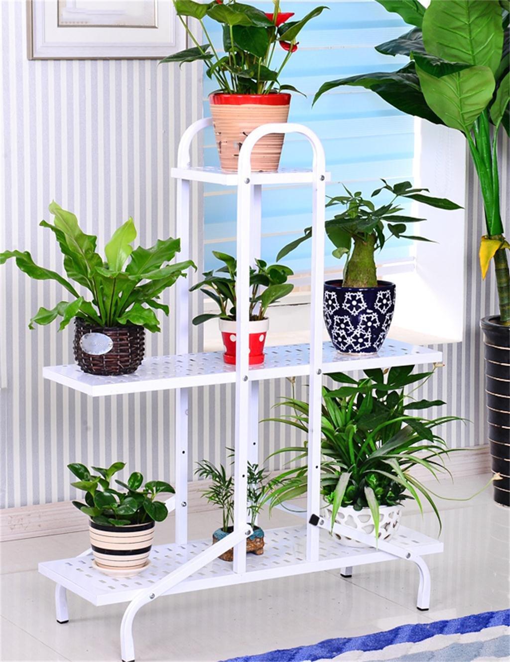 YANZHEN ヨーロッパの床3層鉄の花の鍋の棚のアセンブリ花のラック白い植物のポットホルダー居間室内バルコニーフラワースタンド フラワースタンド B07D2BH89Y