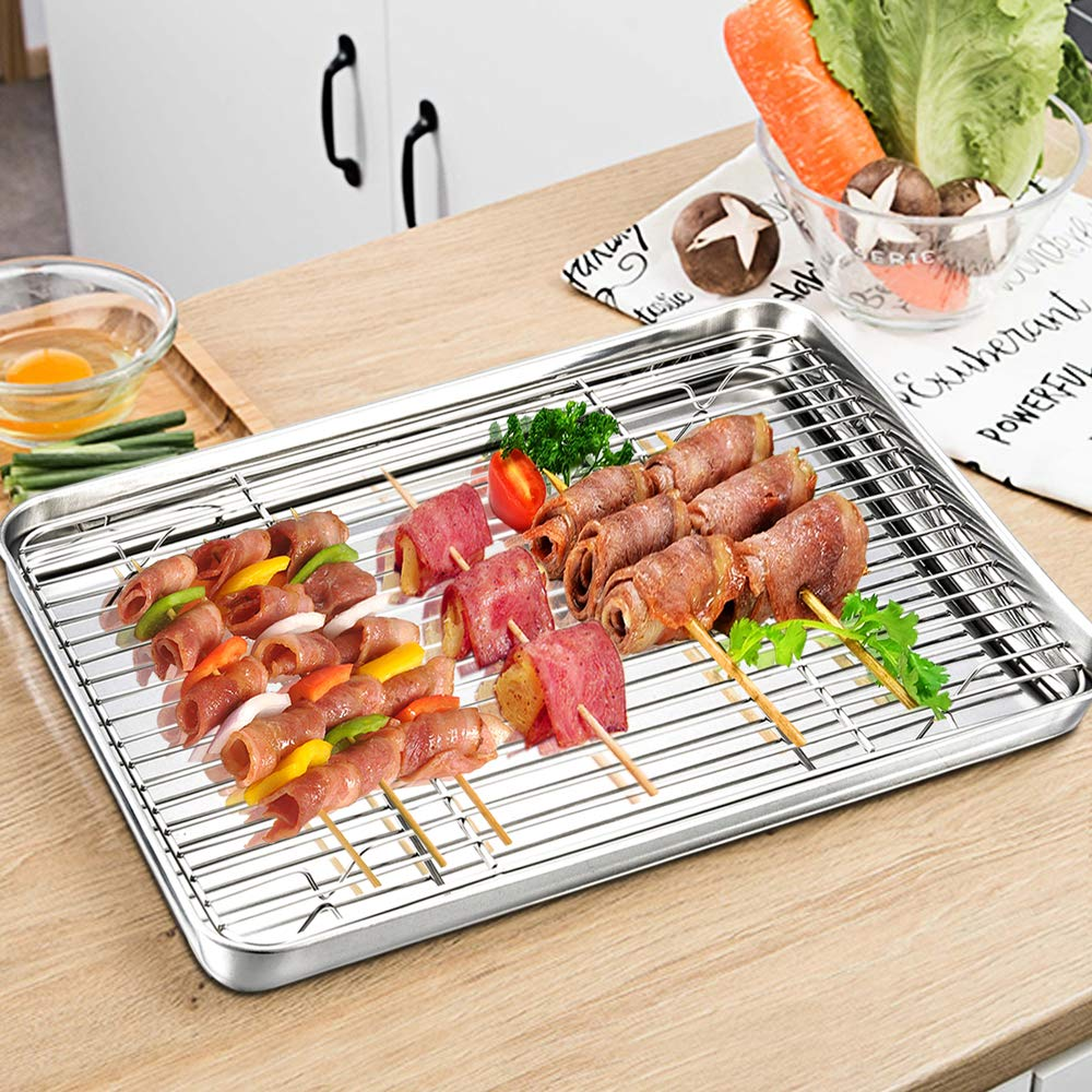 Baking Sheet with Rack Set, E-far Stainless Steel Baking Pans Tray Cookie Sheet with Cooling Rack, 16 x 12 x 1 inch, Non Toxic & Healthy, Rust Free & Dishwasher Safe - 4 Pieces (2 Sheets + 2 Racks) by E-far (Image #7)