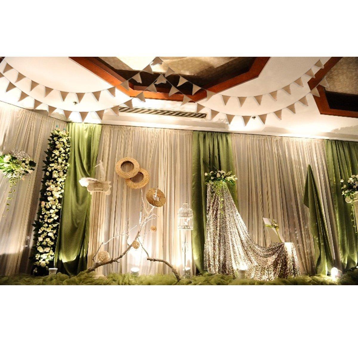 Ovee Lando 9 Foot Burlap Banner Vintage Bunting Banner with 13pcs Flags DIY Wedding Birthday Party Decoration 2 pack OveeLando