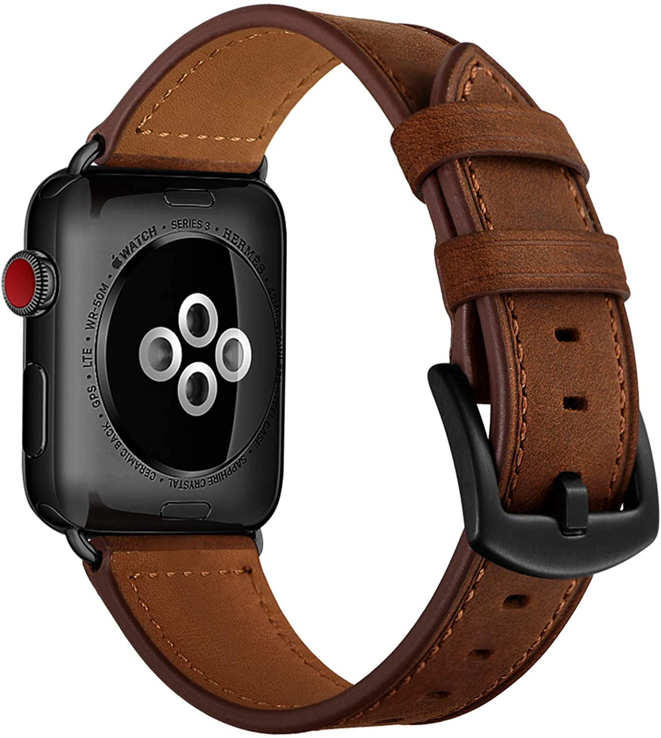 CINORS Leather Band Compatible with Apple Watch Vintage Classical Bands Dark Brown Replacement Strap for iWatch Series 6 5 4 3 2 1 SE Nike Space Black Grey 38mm 40mm Men Women, Brown
