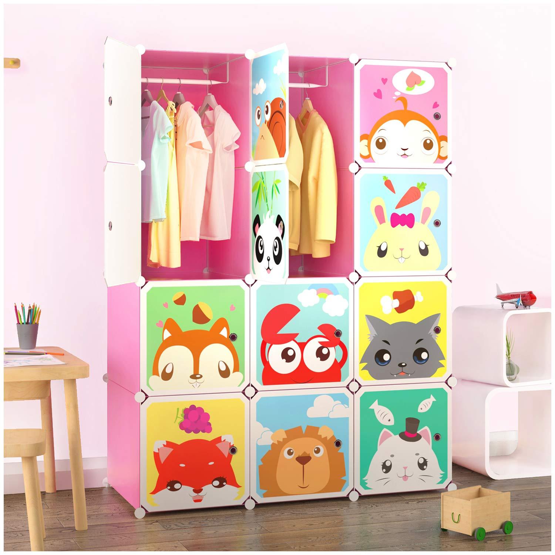 Tespo Portable Clothes Closet Wardrobe Children Kids, Cute Cartoon, DIY Modular Storage Organizer, Sturdy Safe Construction, 12 Deeper Cubes Hanging Rods (Blue) CB13AA