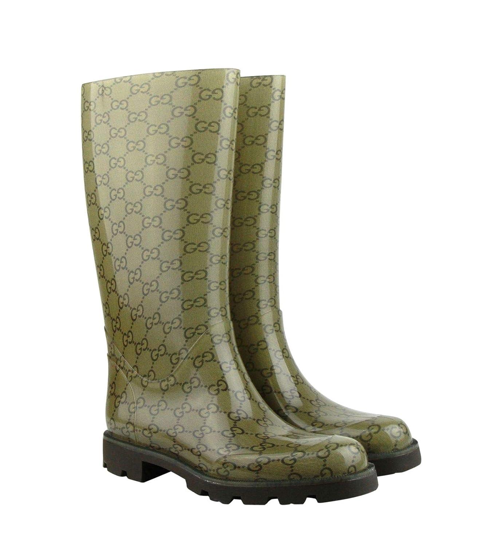 3f36736a8 Amazon.com: Gucci Women's Guccissima Pattern Light Brown Rubber Rain Boots  248516 8367: Shoes