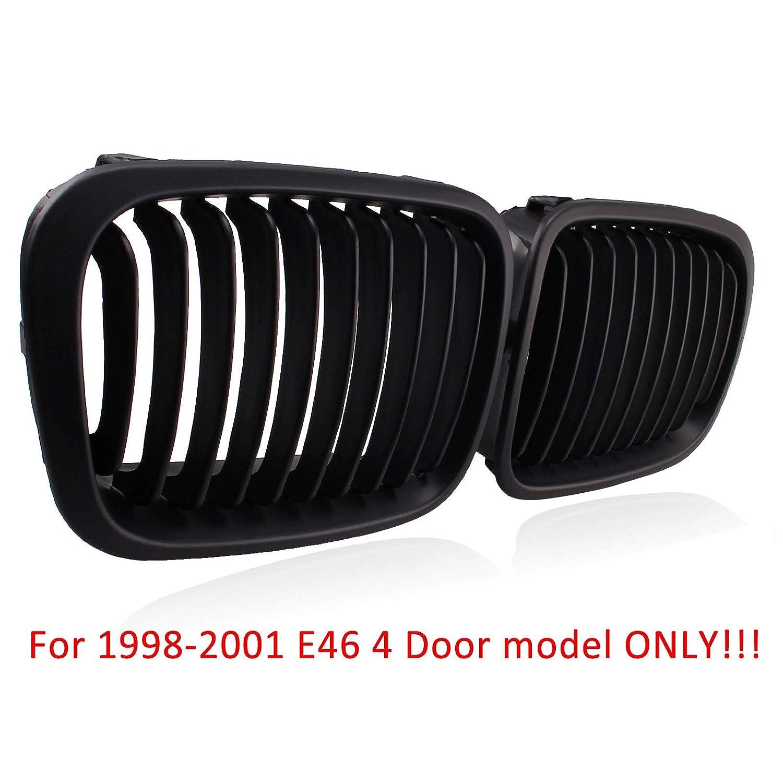 Heart Horse Front Kidney Grills Compatible With BMW E46 Sedan 320i 325i 325xi 323i 328i 330i 4D 4 Door 1998-2001 Gloss Black