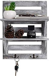 VERGOODR Rustic Wooden Wall Mounted Organizer Shelves with 2 Hooks, 2-Tier Storage Rack, Decorative Wall Shelf Organizer,Kitchen,Bathroom,livingroom Farmhouse Rustic Décor,Grey (Grayish White)