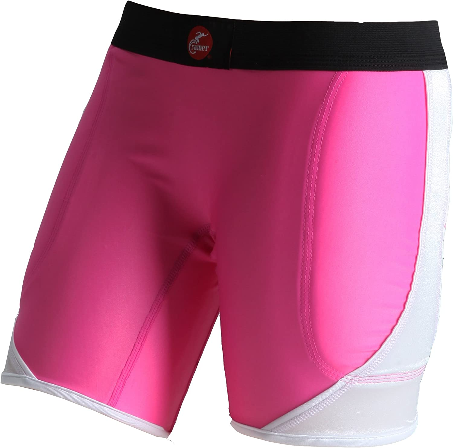 Cramer Women's Crossover Softball Compression Sliding Shorts with Foam Padding, Low-Rise 5 Inch Inseam, Support Prevents Chaffing and Injury During Activity, Pink/White, Large