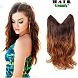 """Creamily 20"""" Wavy Curly Brown to Caramel Blonde Ombre Dip Dye Synthetic Hair Extension Secret Miracle Heat Resistance Hair Wire Hairpieces No Clip for Women"""