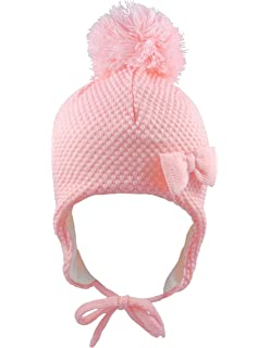 48900e376 Pesci Baby Girls Boys Pom Pom Hat with Ear Flaps and Chin Ties ...