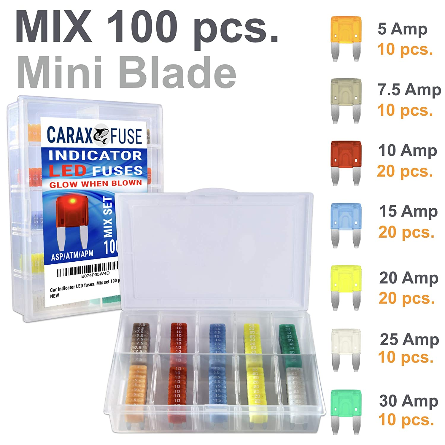 Smart Glow Fuse MINI Blade Fuse Kit Assortment Car Fuse Automotive Assorted Replacement Set 100 pcs PREMIUM Box Auto Fuses That Glow When Blown Easy Identification Indicator Illuminating Fuse