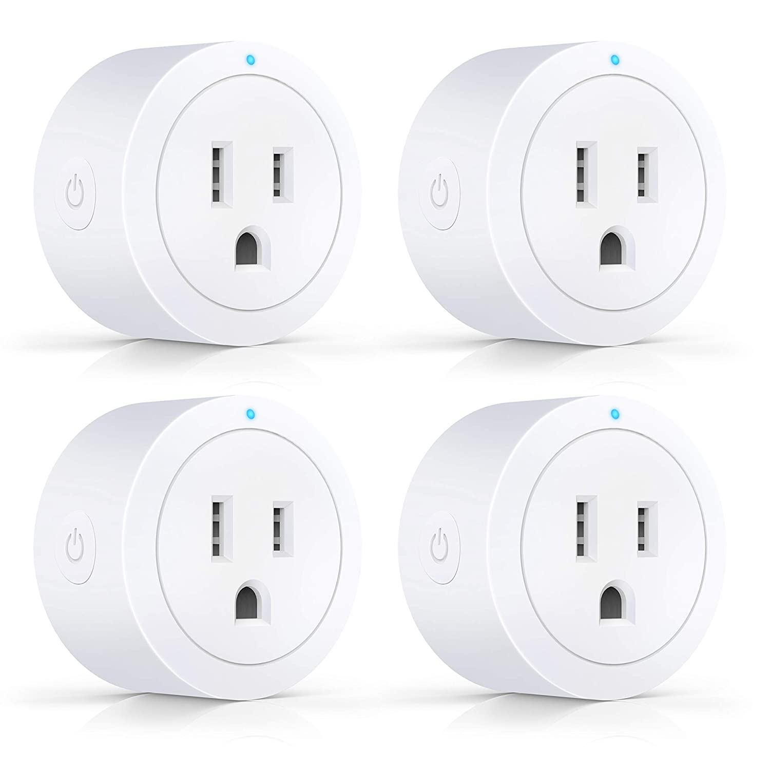 Esicoo Wi-Fi Smart Plug Outlet 4 Pack,Timer Mini Socket Compatible with Alexa Google Home Ifttt,No Hub Required Control Your Devices from Anywhere