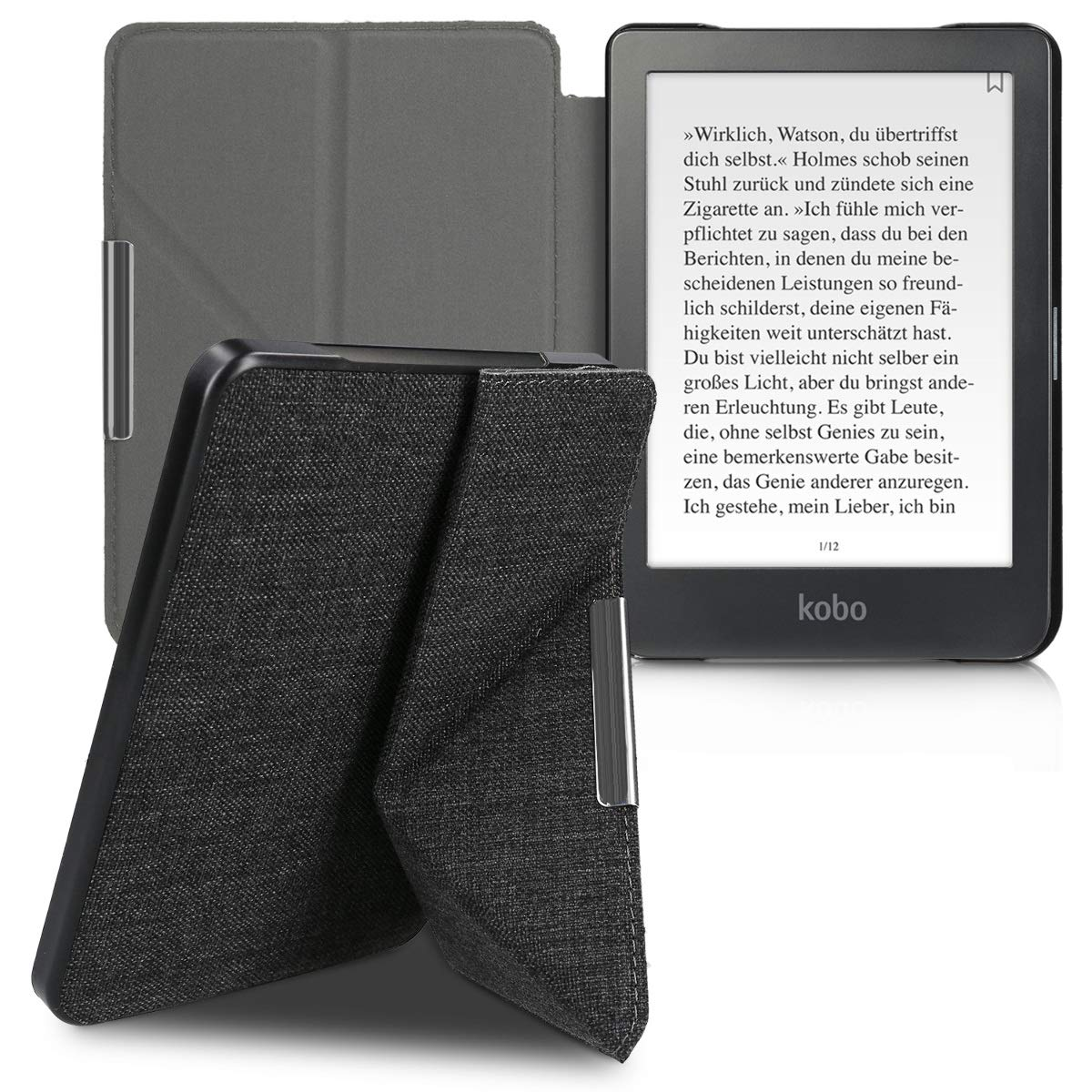 Ultra Slim Fit Fabric Cover with Magnet and Stand kwmobile Origami Case for Kobo Clara HD Blue