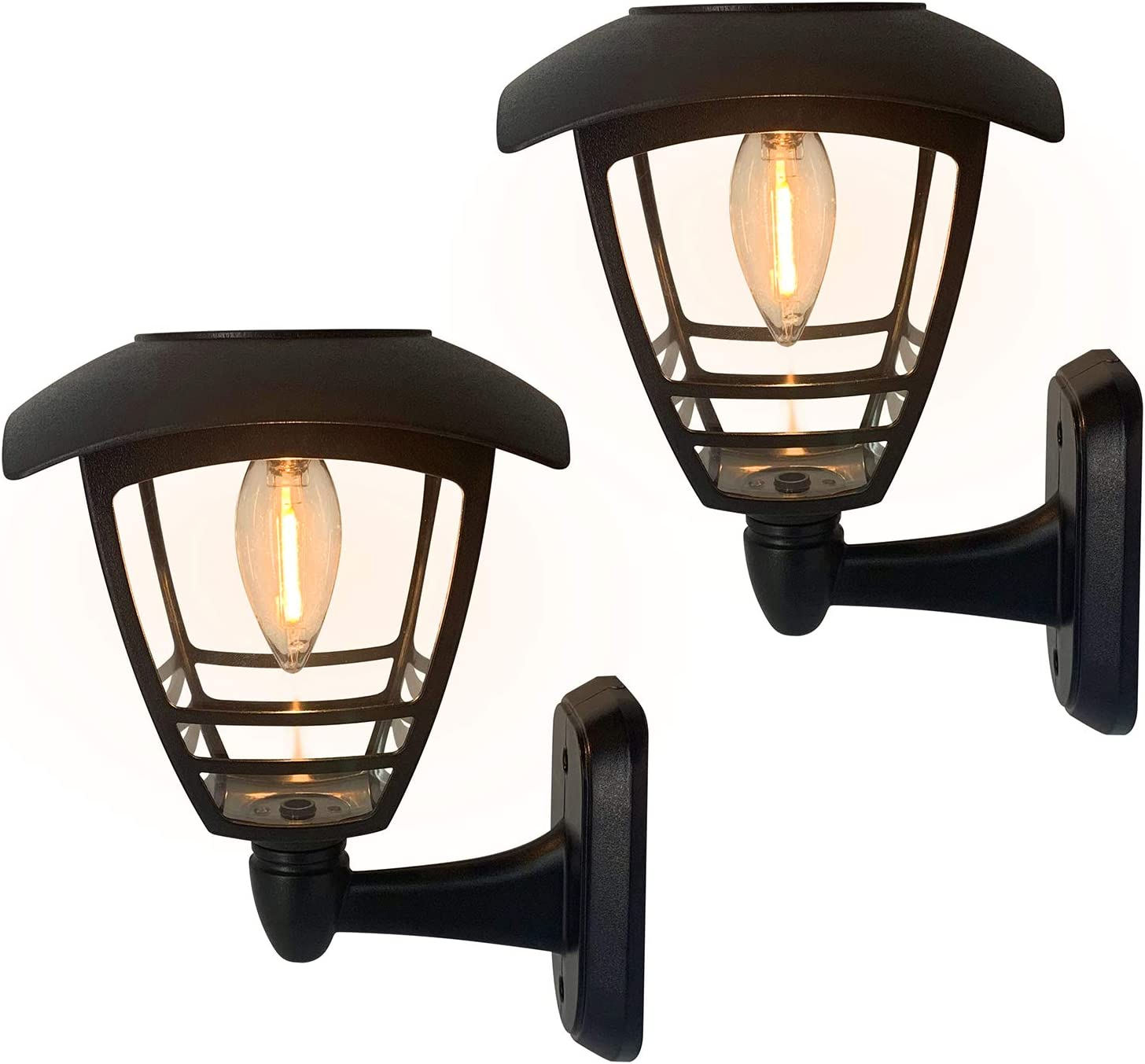 2 Pack Solar Wall Lantern Lights Outdoor Waterproof Black Sun Powered Wall Light Fixtures Sturdy Plastic Led Wall Lantern Clear Warm White Lighting For Yard Front Porch Garage And Garden Home