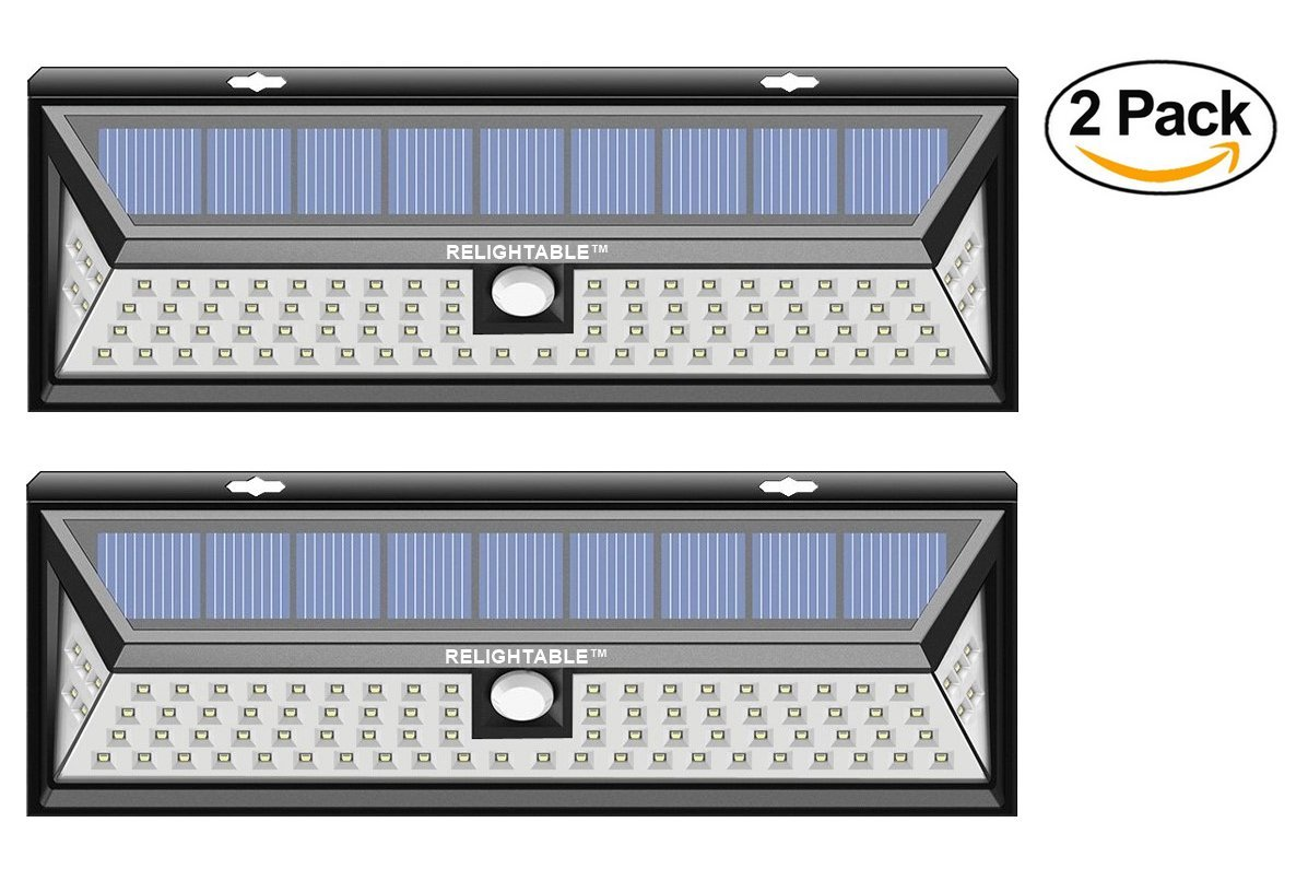 RELIGHTABLE Solar Powered 86 LED 3D Wide Angle Motion Sensor 3-Model Light MS86 (2PACK)