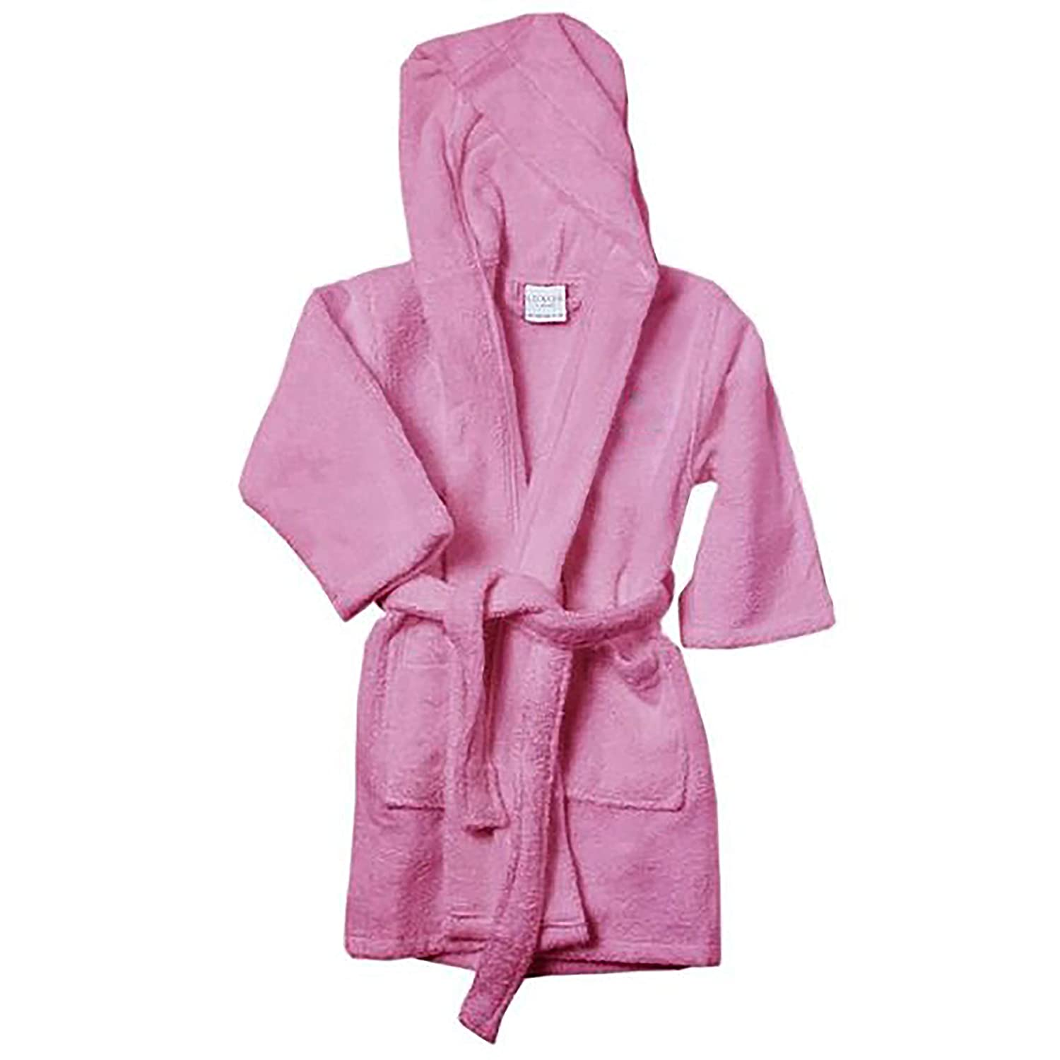 Luxor Linens Kids Robe - Luxury Hooded Bathrobe for Girls and Boys and 100% Egyptian Cotton (Pink, Large)