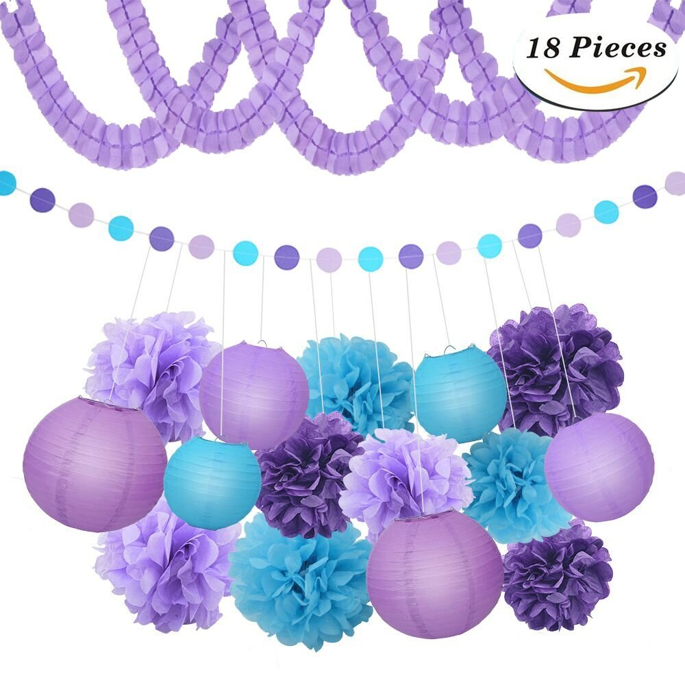 XFunino Paper Lanterns Decorations Purple Pom Poms Happy Birthday Tissue Decorations Polka Dot Party Decorations for Teen, Baby Shower, Bachelorette, Purple 18 Pcs by XFunino