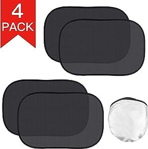 "Kribin 4 Pack Car Window Shade, Car Sun Shade for Baby - 21""x14"" Car Cling Sunshade with UV Rays Protection - 80 GSM Car Side Rear Sun Shade for Mid-Size Sedan and Mid-Size SUV"